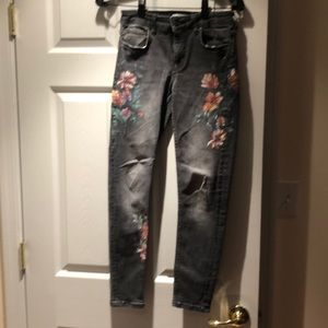 Zara Grey Jeans  with painted flowers Size 4